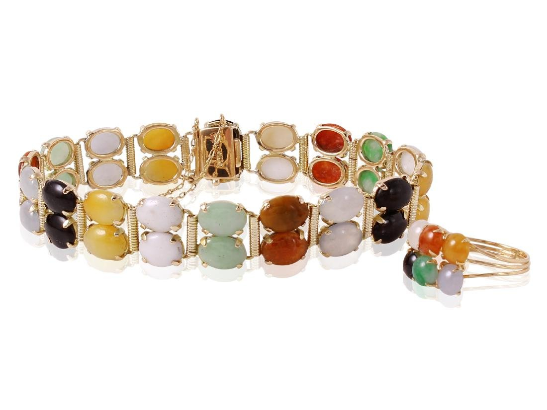 14KT Yellow Gold Jade Ring and Bracelet Set