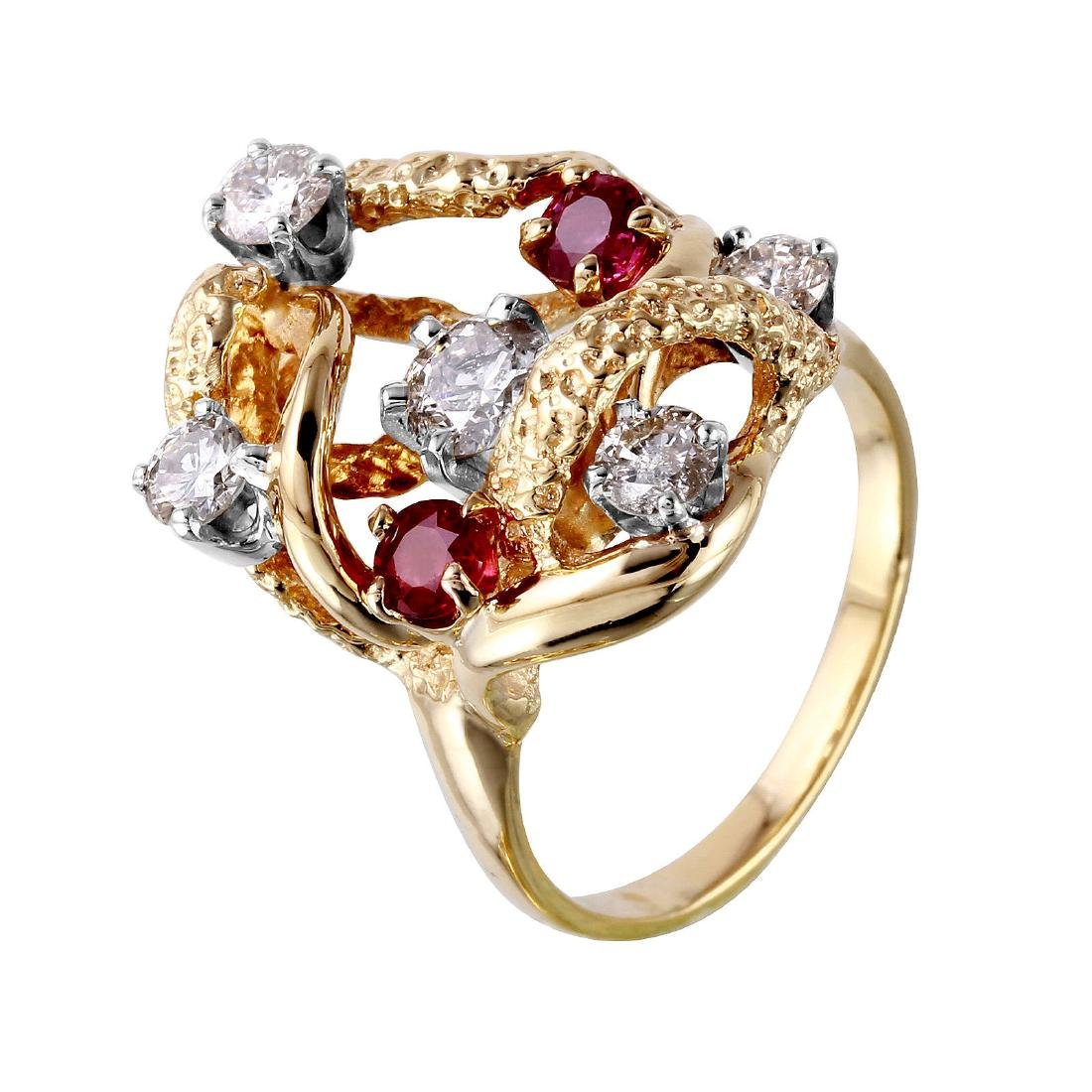 14KT Yellow Gold Diamond and Ruby Ring