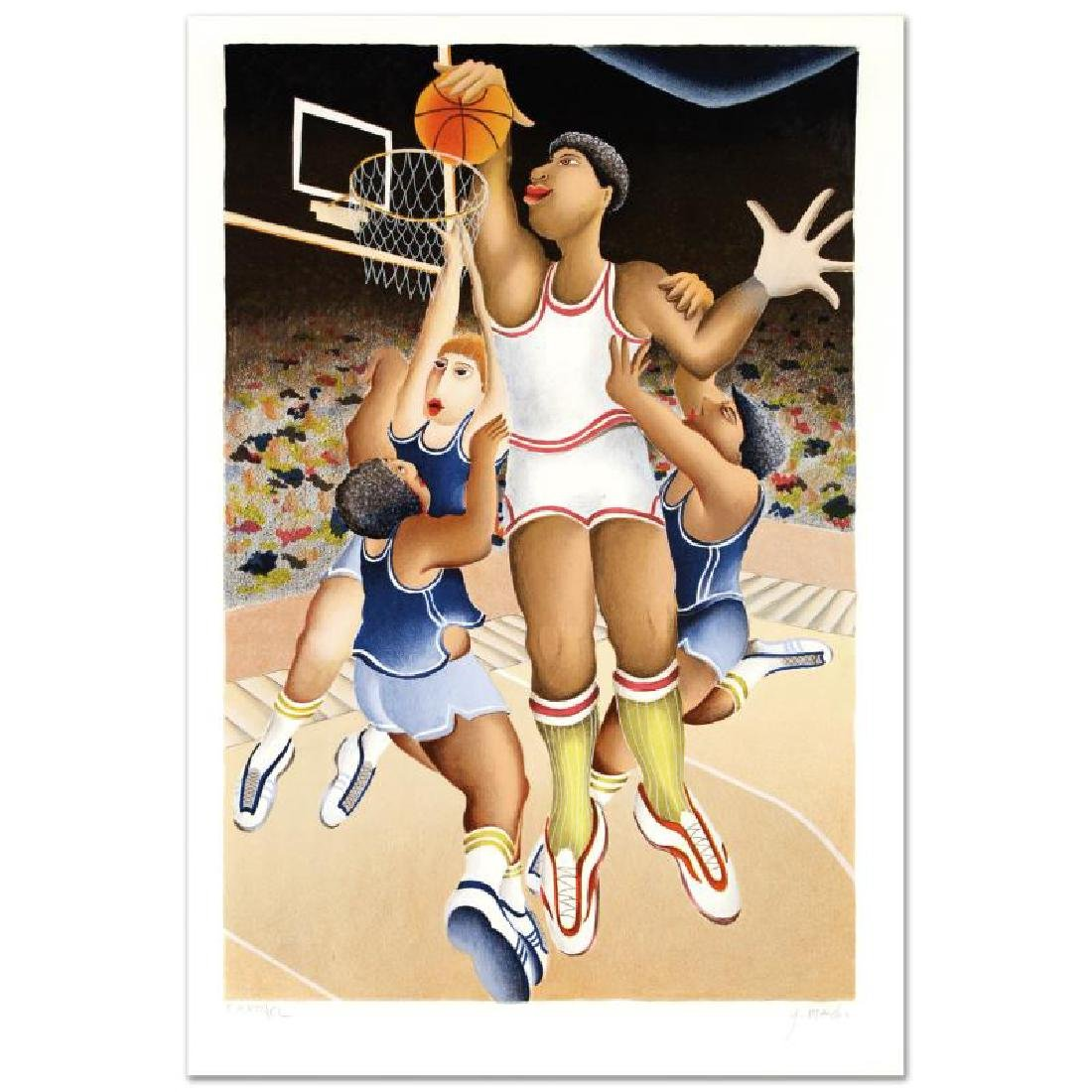 """Basket"" Limited Edition Lithograph By Yuval Mahler,"