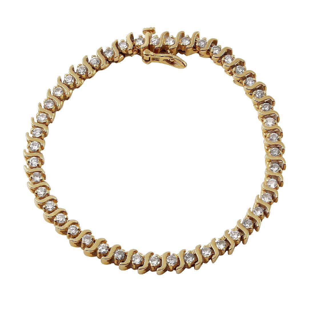 14KT Yellow Gold Diamond Tennis Bracelet