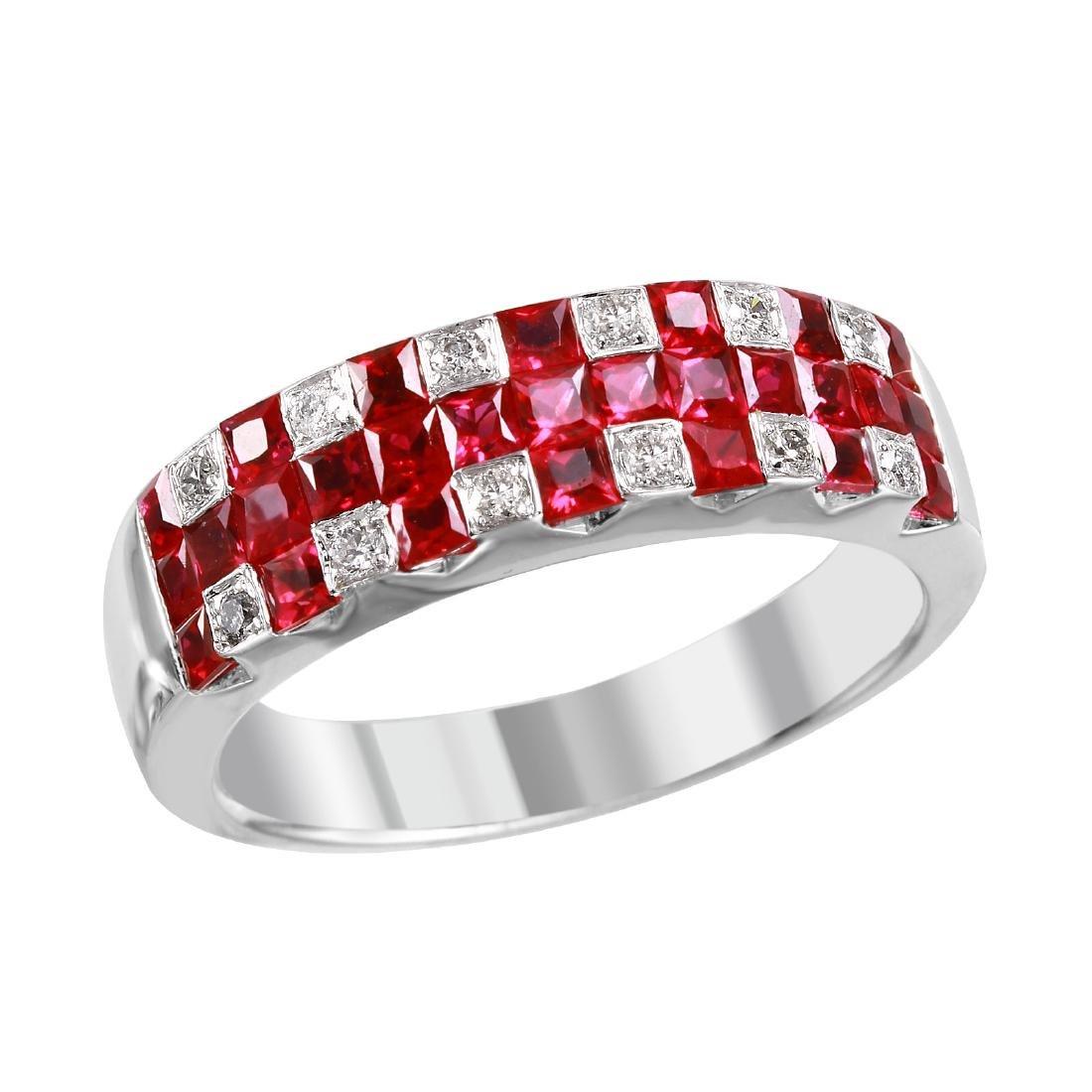14KT White Gold Ruby & Diamond Ring