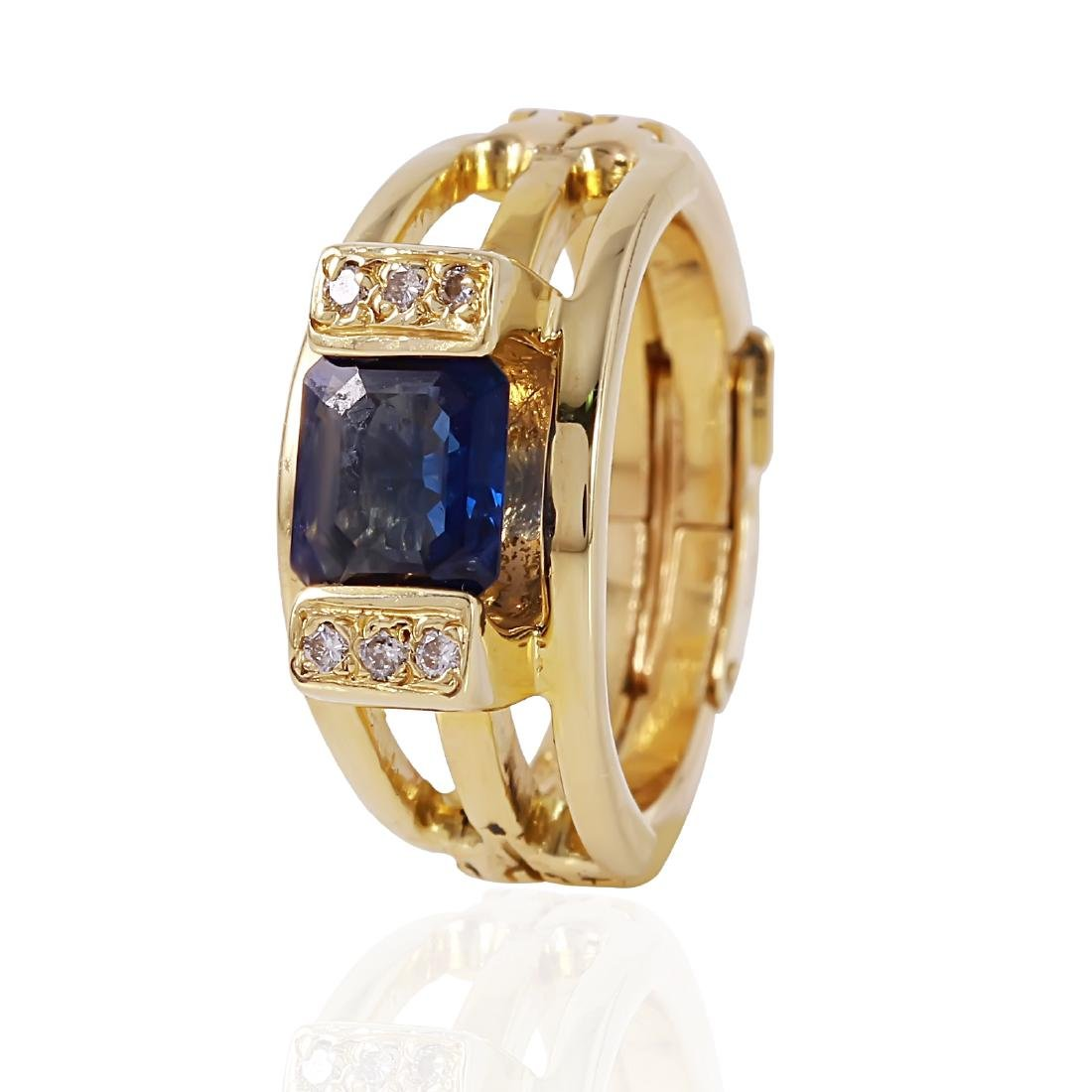 14KT Yellow Gold Sapphire and Diamond Ring
