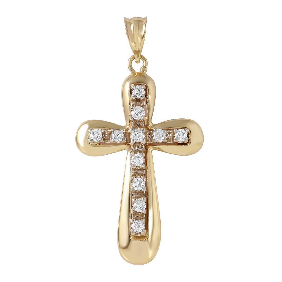 14KT Yellow Gold Diamond Cross Pendant