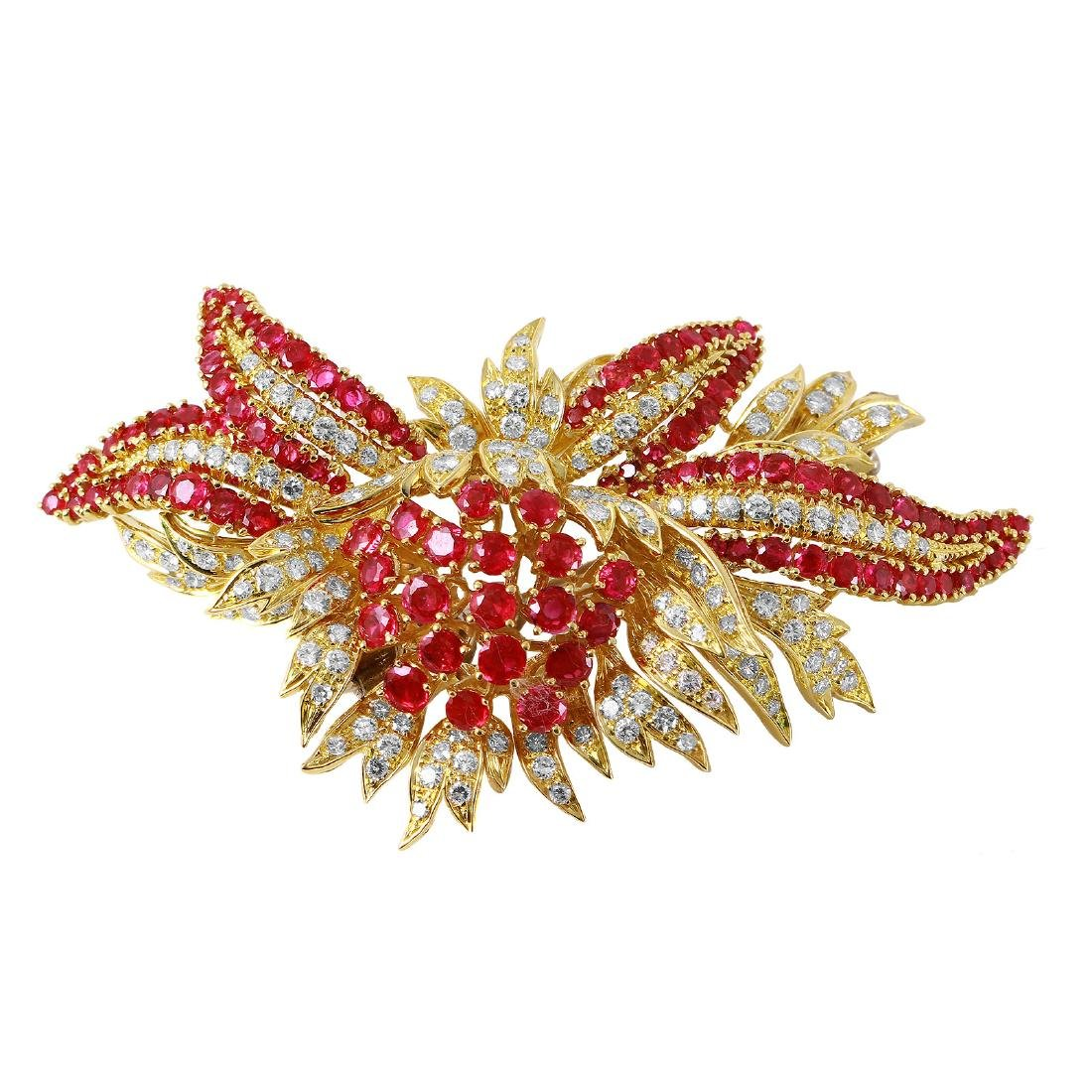18KT Yellow Gold Ruby & Diamond Brooch