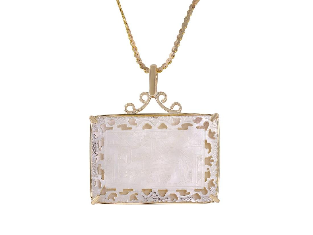 14-18KT Mother of Pearl Gambling Chip Necklace