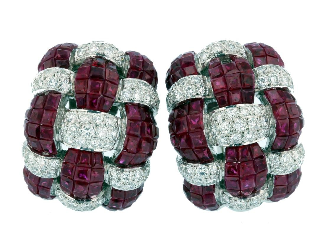 18KT White Gold Ruby & Diamond Gemstone Earrings