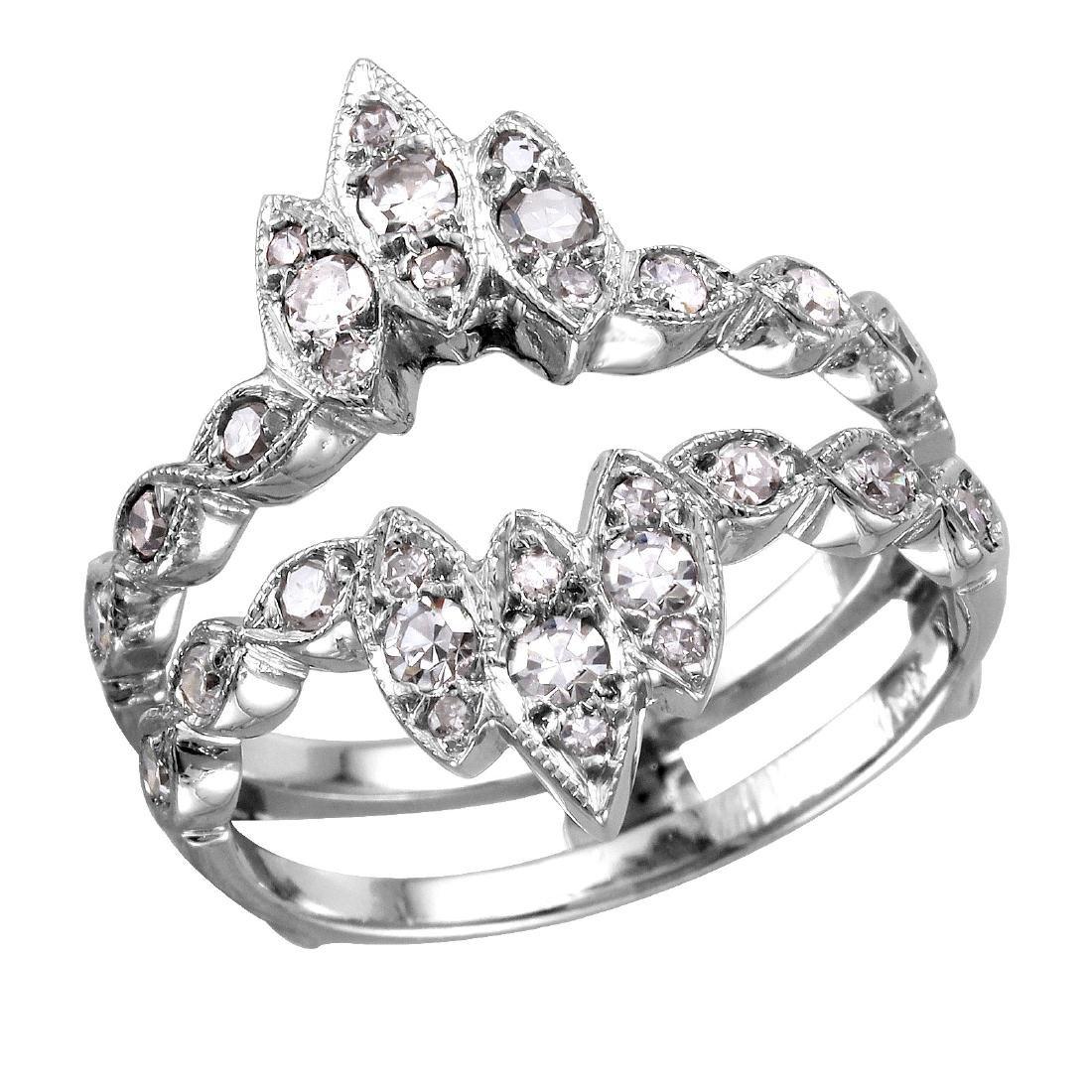 14KT White Gold Diamond Ring/Guard