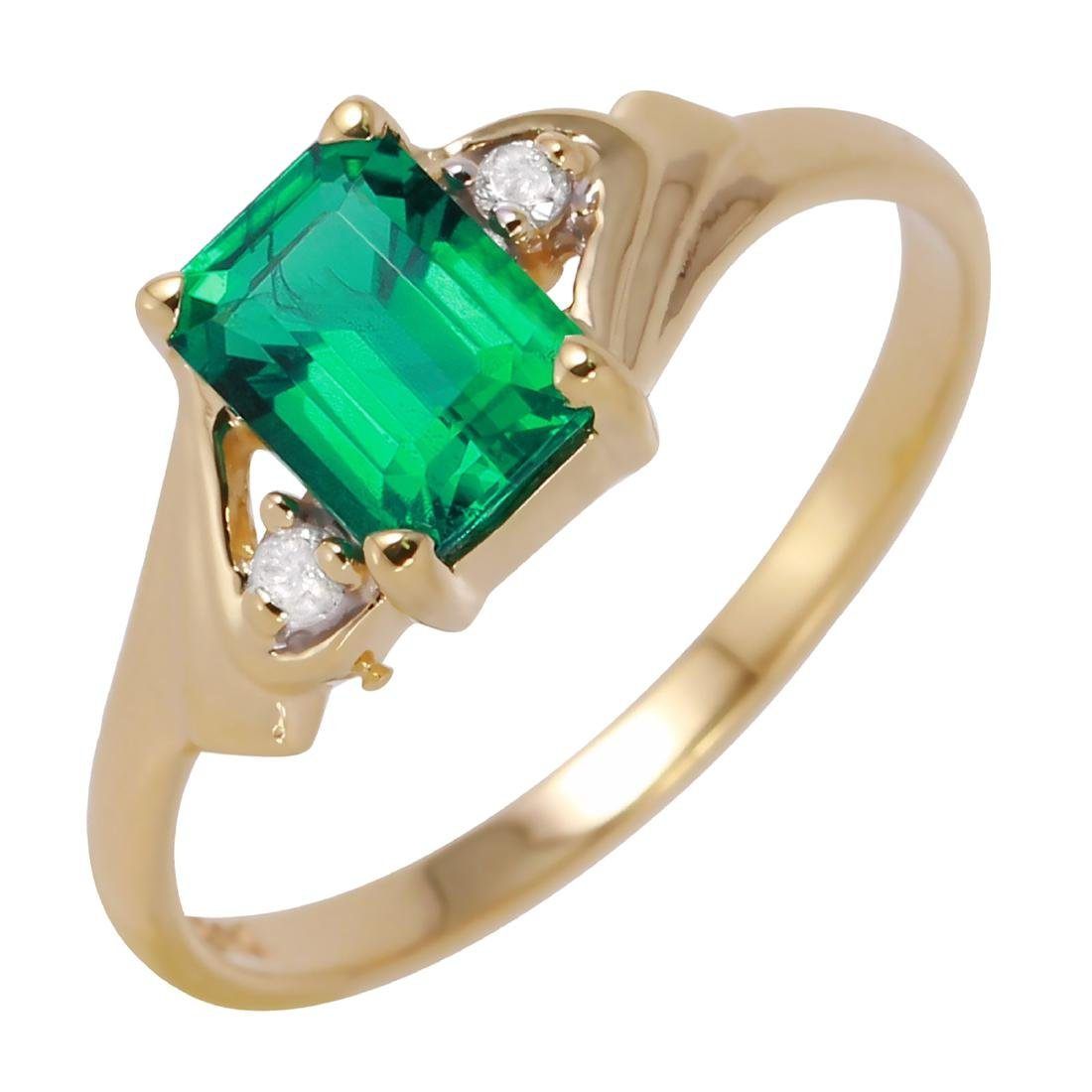 10KT Yellow Gold Created Lab Emerald & Diamond Ring