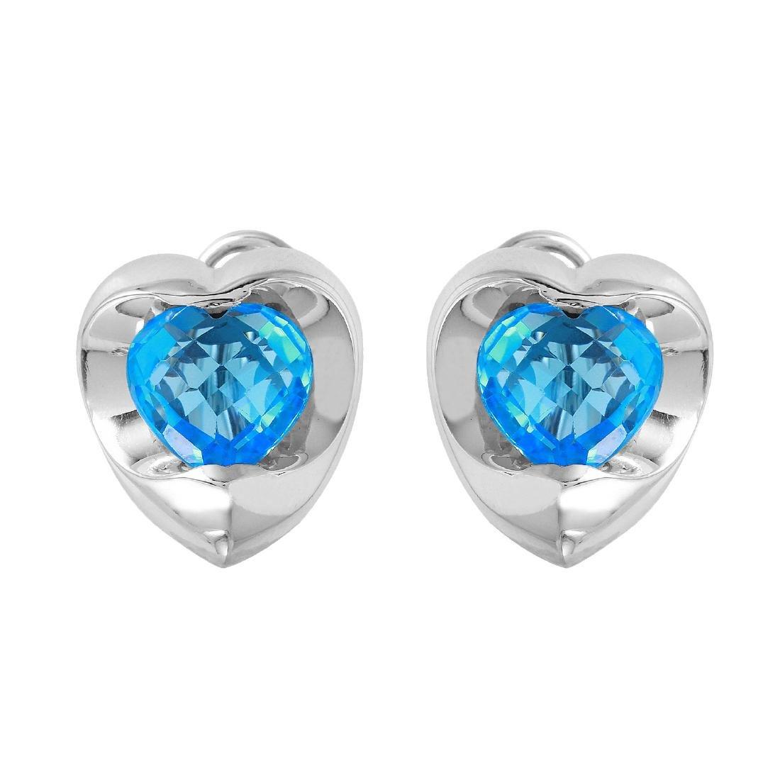 14KT White Gold Topaz Double Heart Earrings