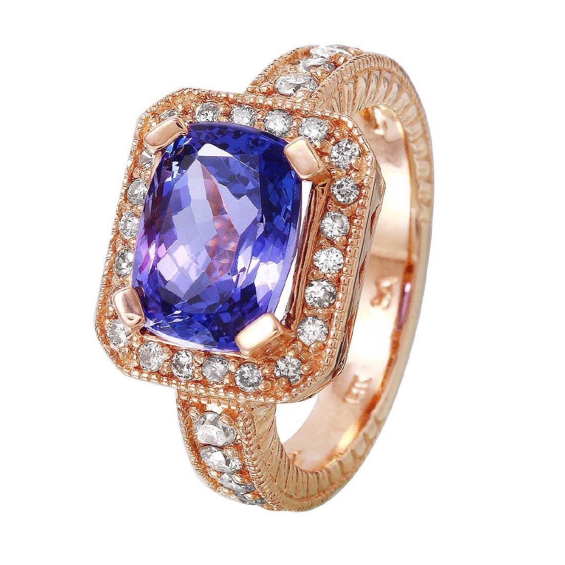 14KT Rose Gold Tanzanite & Diamond Ring