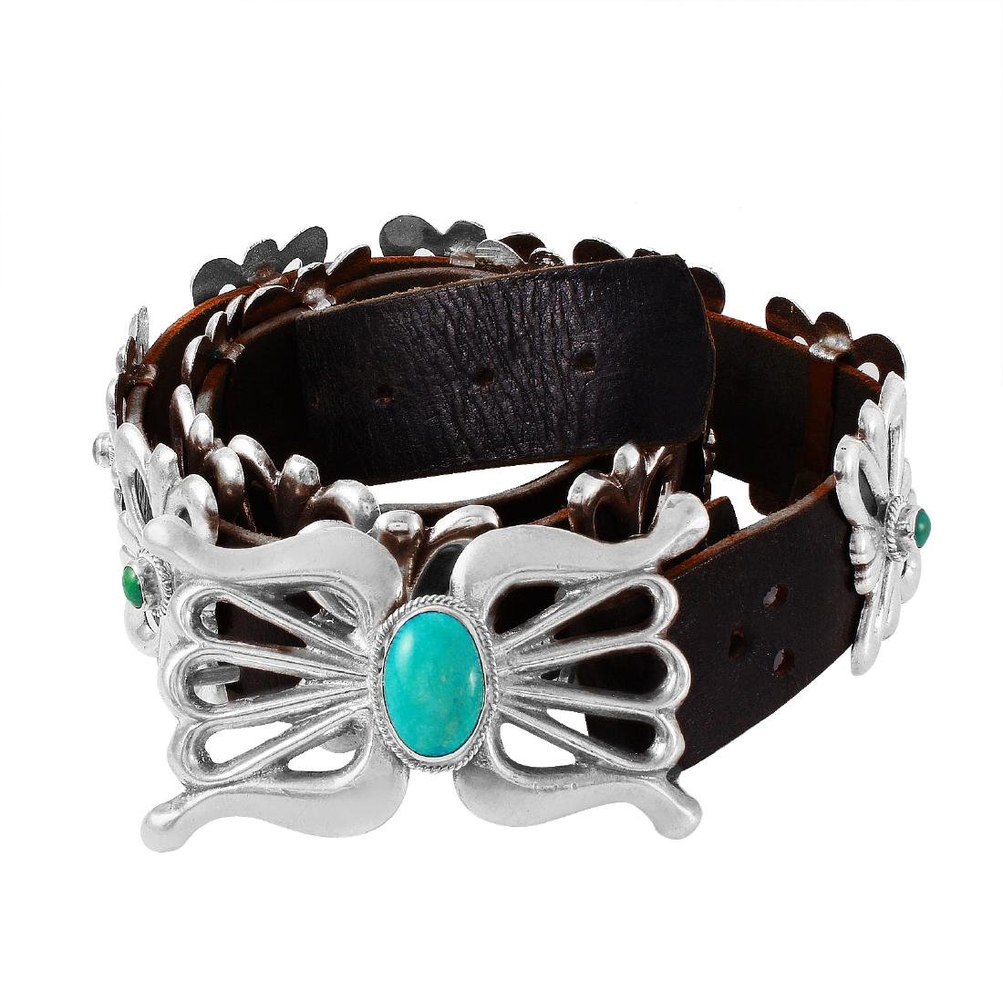 Native American Turquoise Silver Concho Belt