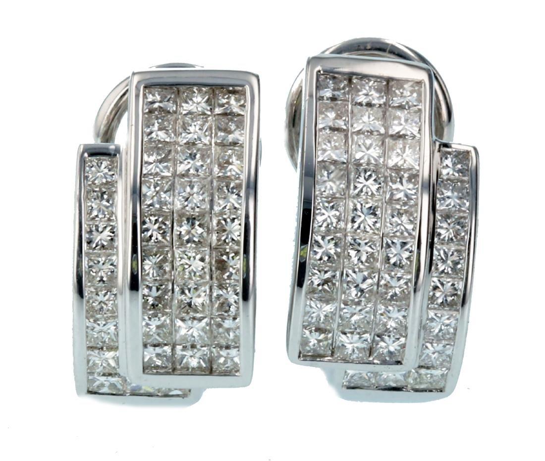 18KT White Gold Diamond Omega Earrings