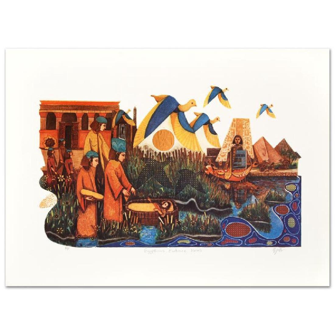 """""""Egyptians Embrace"""" Limited Edition Embossed Lithograph"""