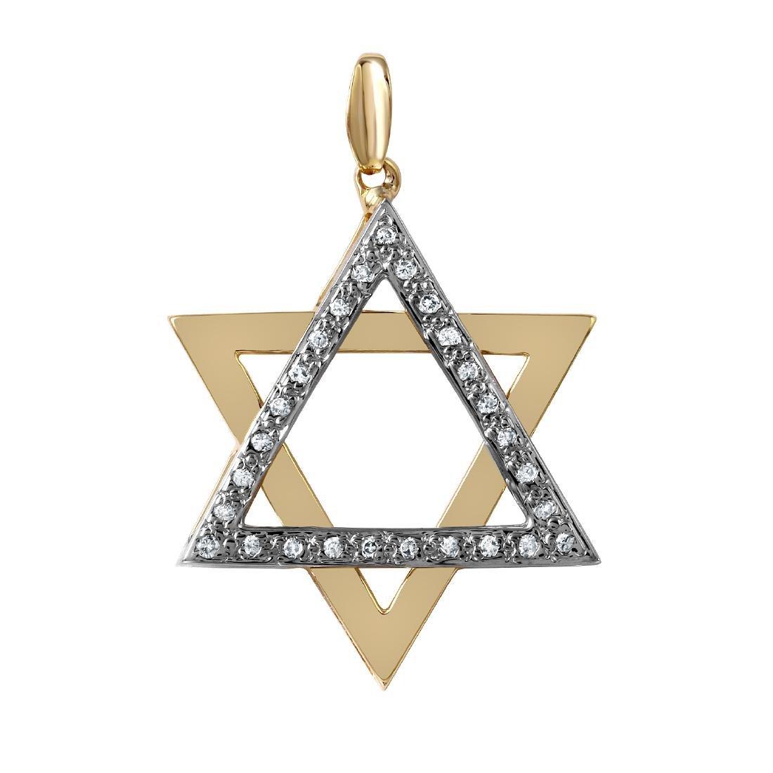 Star of David Diamond 14KT Gold Pendant