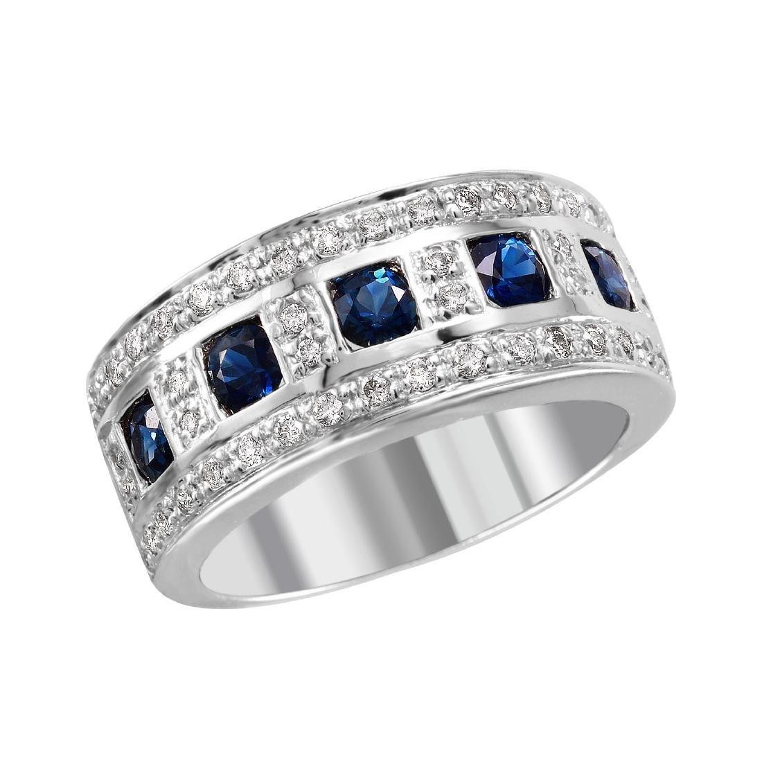 14KT White Gold Sapphire & Diamond Ring