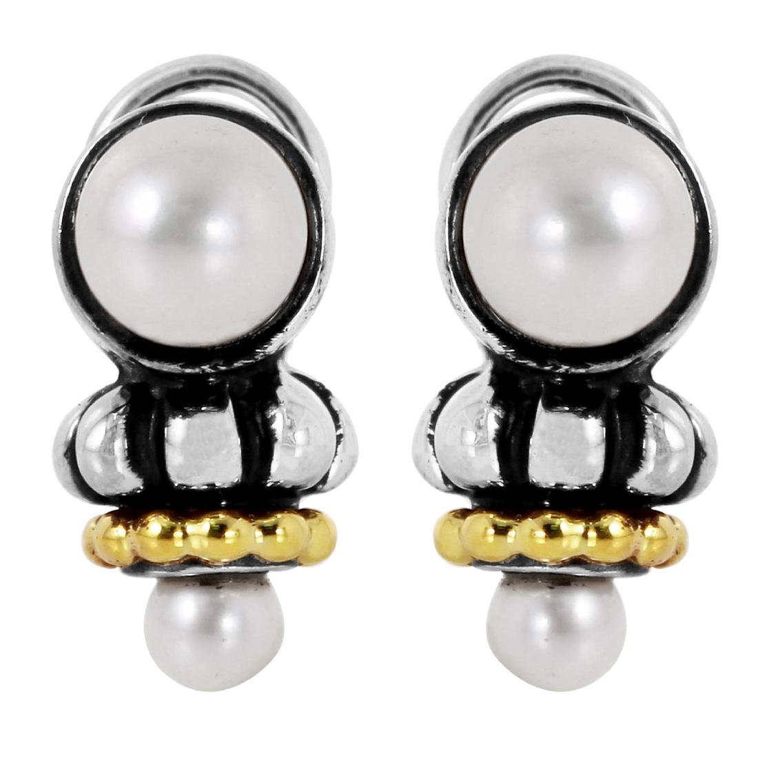 LAGOS Caviar Sterling Silver 18KT Gold Earrings
