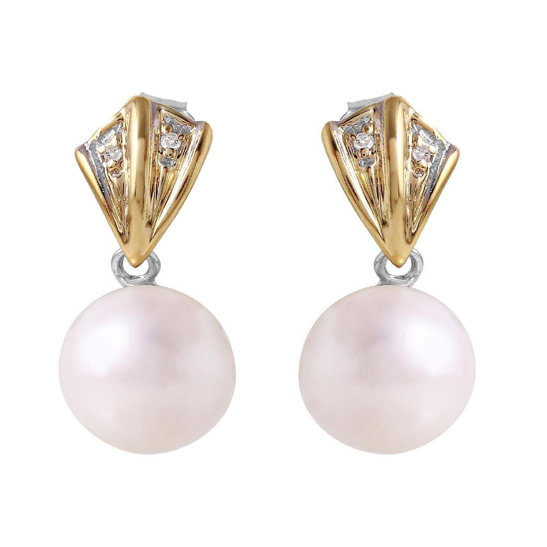 14KT Two Tone Gold Pearl & Diamond Earrings