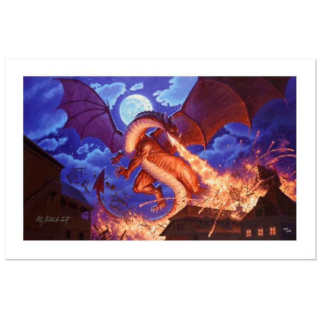 """""""Smaug Destroys Laketown"""" Limited Edition Giclee on"""
