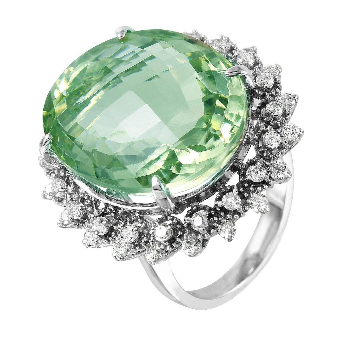 14KT White Gold Amethyst & Diamond Ring