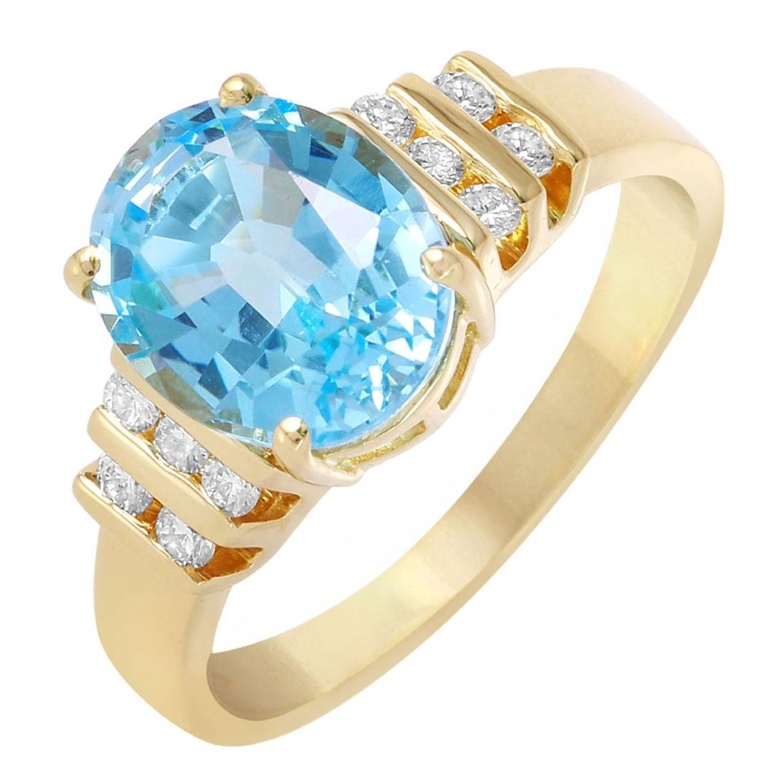 14KT Yellow Gold Topaz and Diamond Ring