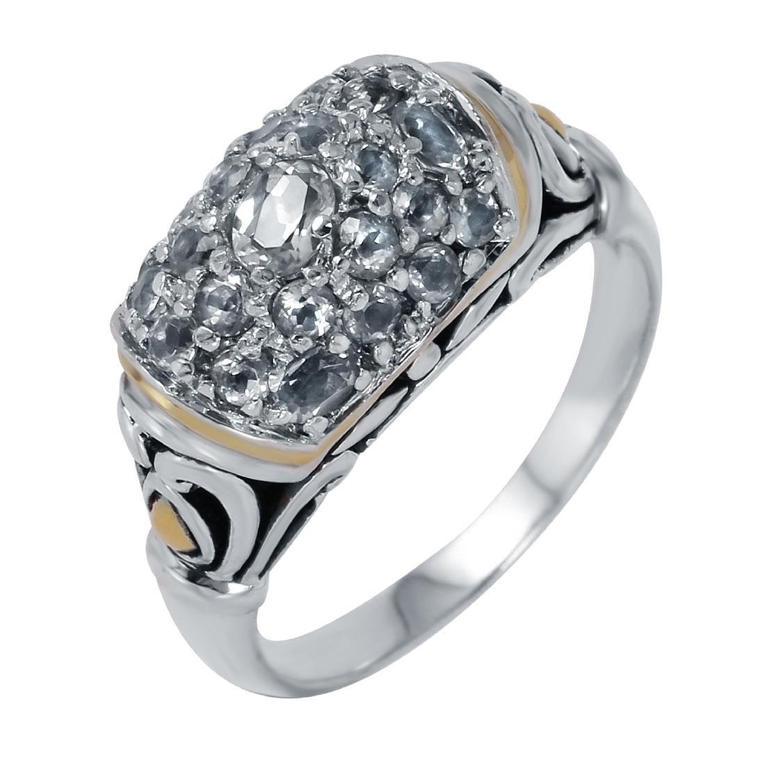 John Hardy Sterling & 18KT  Gold Sapphire Ring