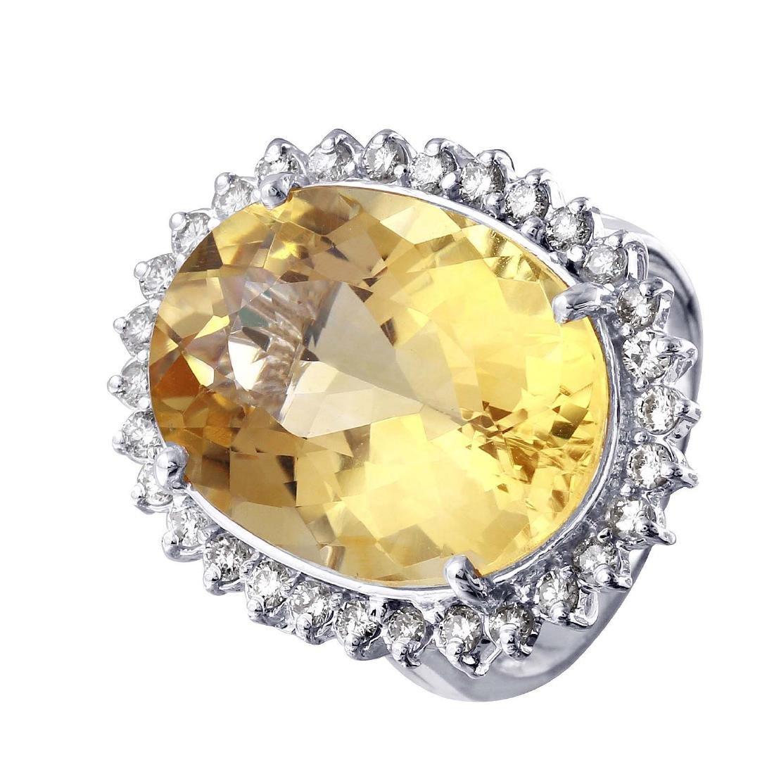 14KT White Gold Citrine and Diamond Cocktail Ring