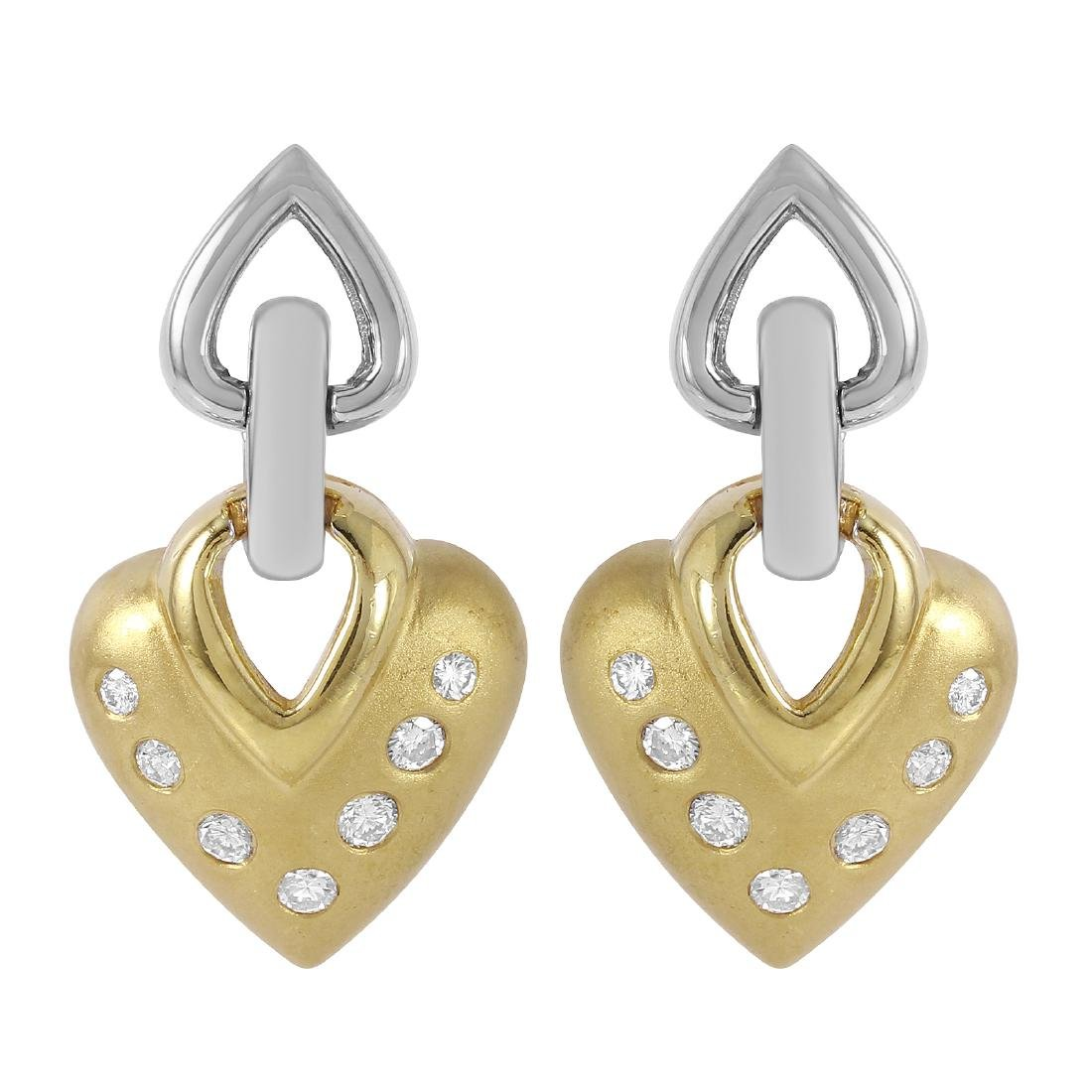 14KT Two Tone Gold Diamond Earrings