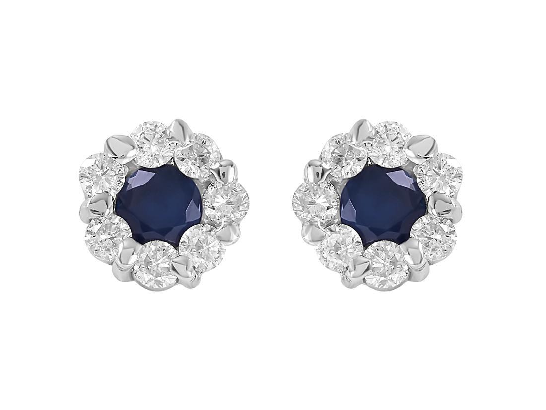 14KT White Gold Sapphire Diamond Earrings