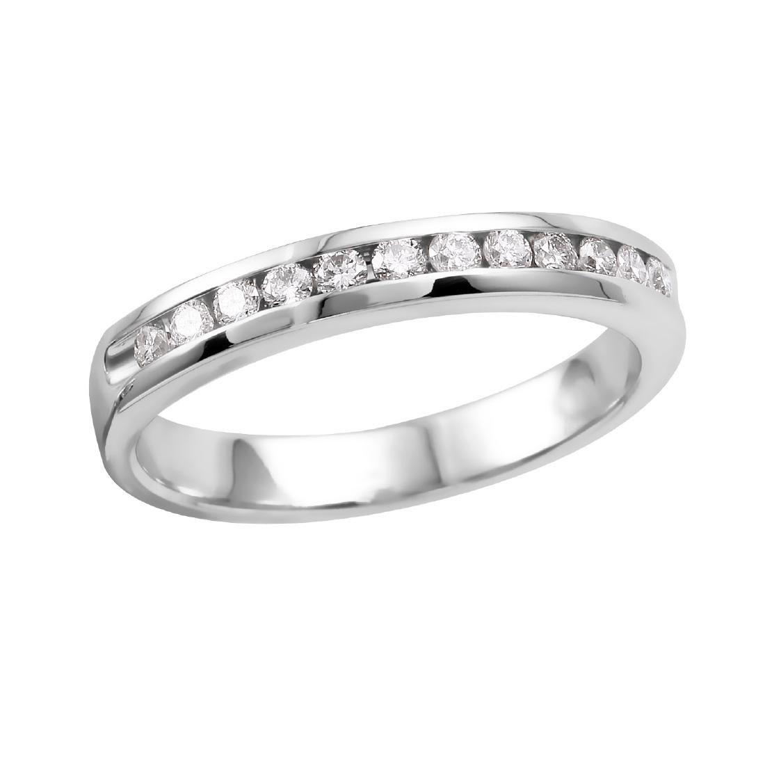 14KT White Gold Diamond Wedding Band