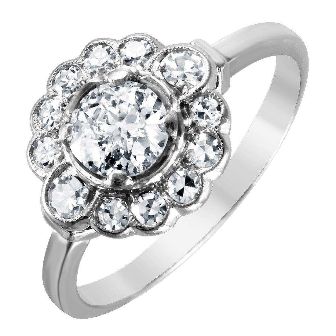 Diamond Platinum Floral Ring