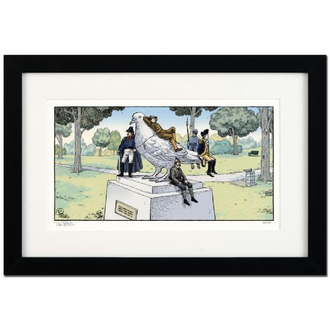 """Bizarro! """"Pigeon Statue"""" is a Framed Limited Edition"""