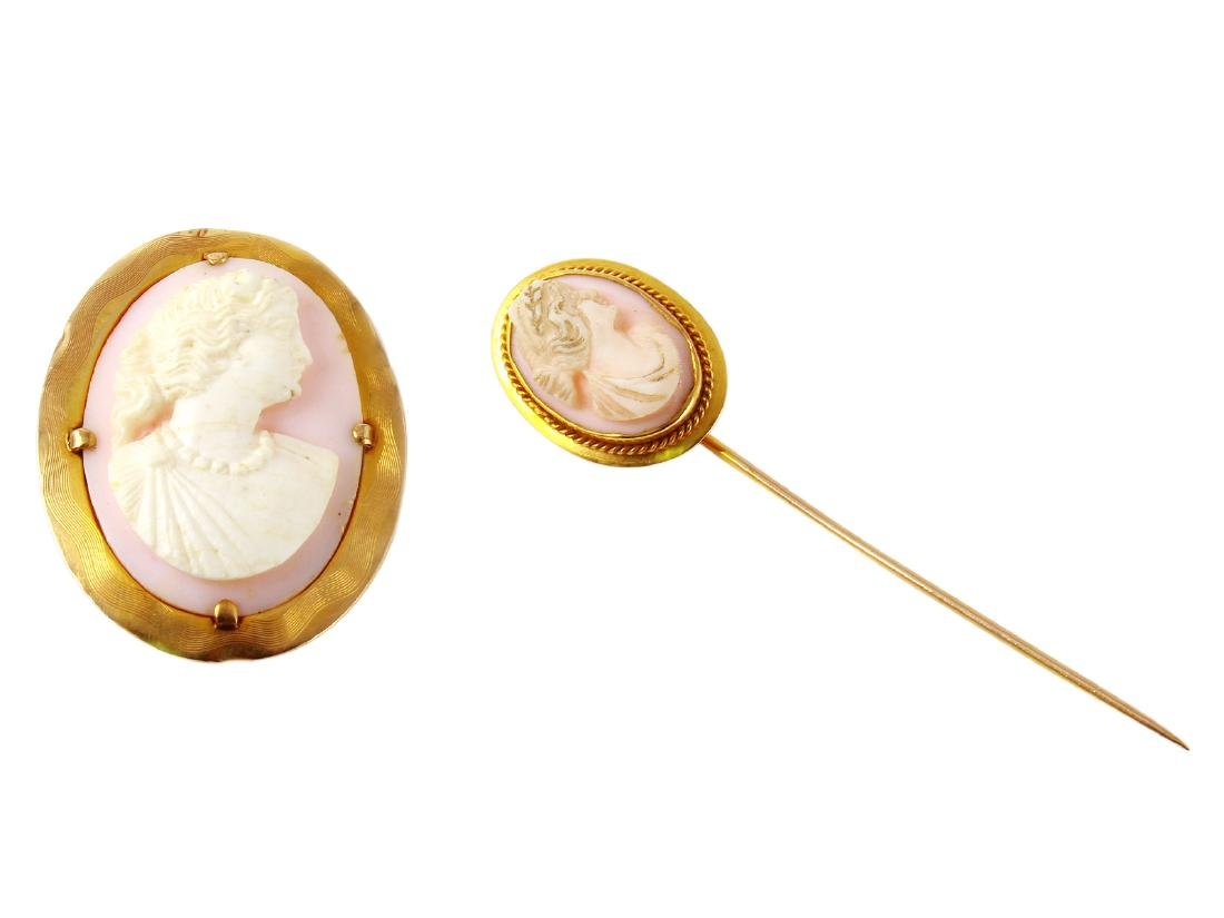 10KT Yellow Gold Cameo Brooch / Hair Pin