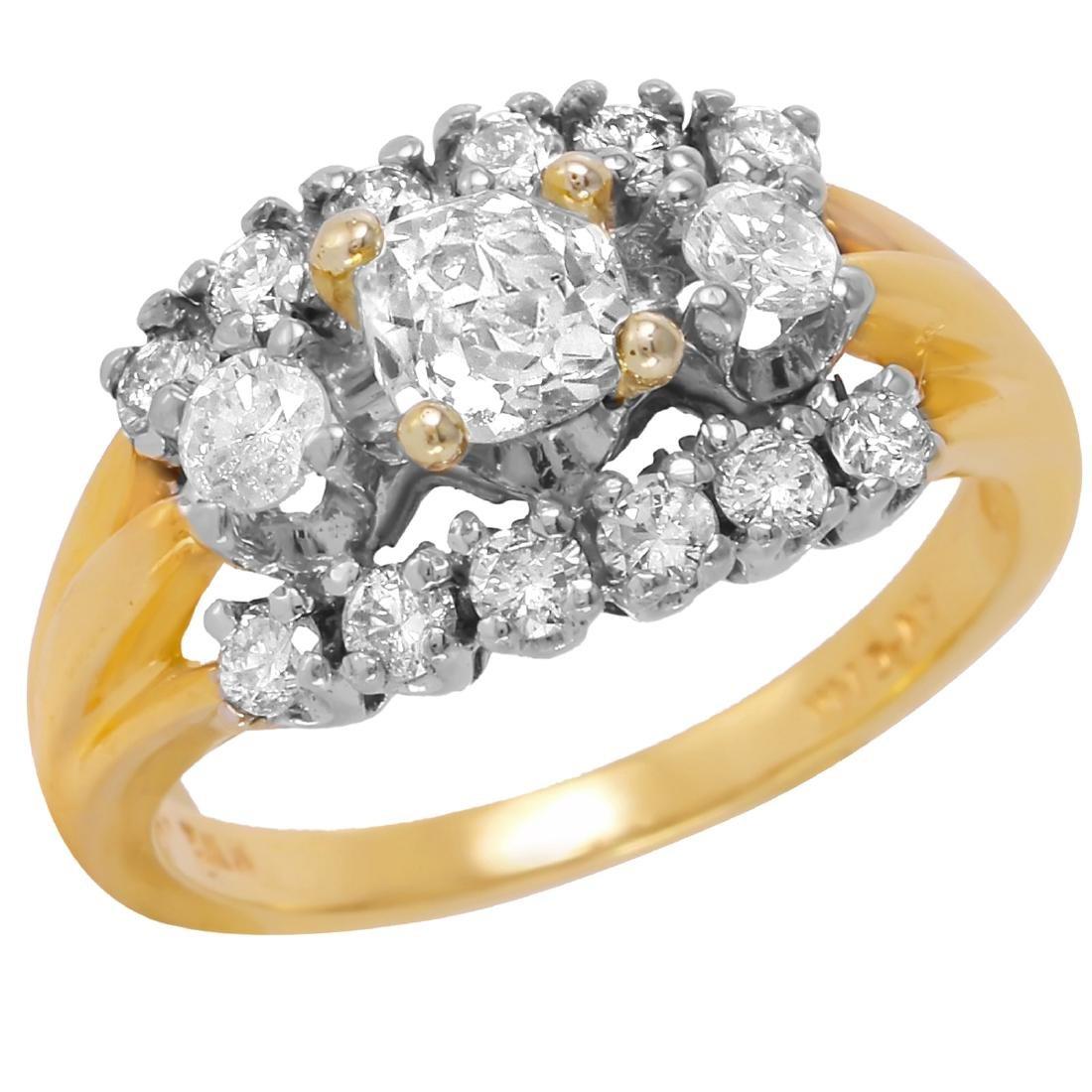 14KT Two Tone Gold Art Deco Diamond Ring