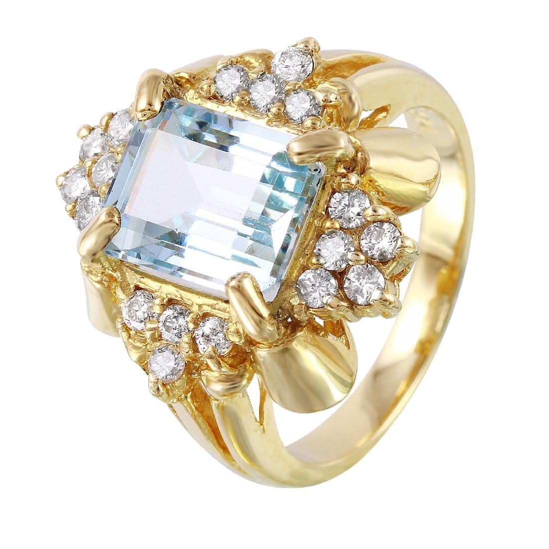 14KT Yellow Gold Aquarmine & Diamond Ring
