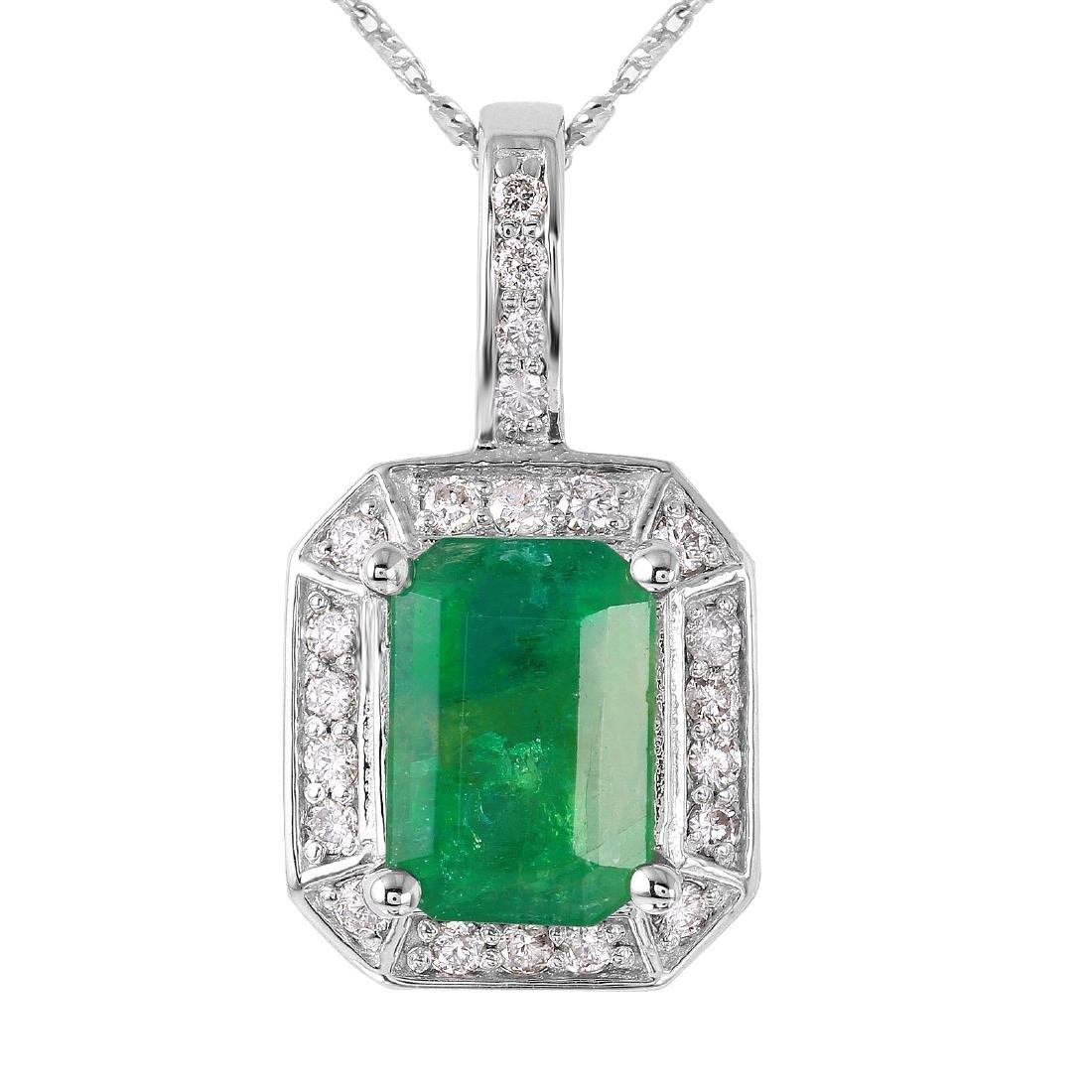 14KT White Gold Emerald & Diamond Necklace