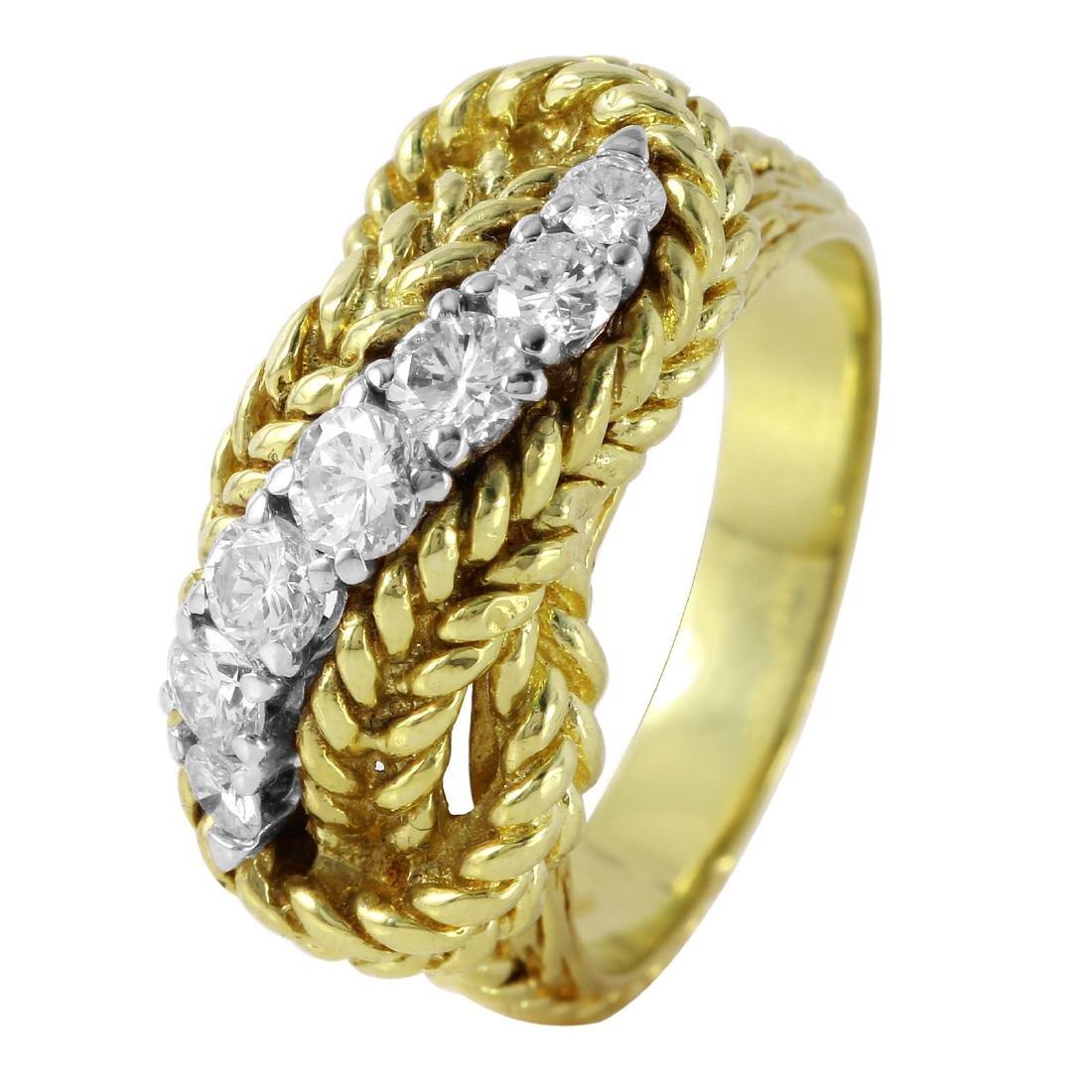Diamond 18KT Yellow Gold Rope Ring