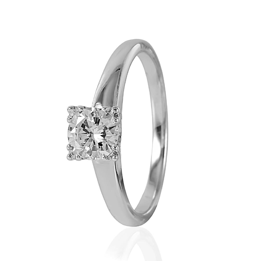14KT White Gold Diamond Solitaire Ring