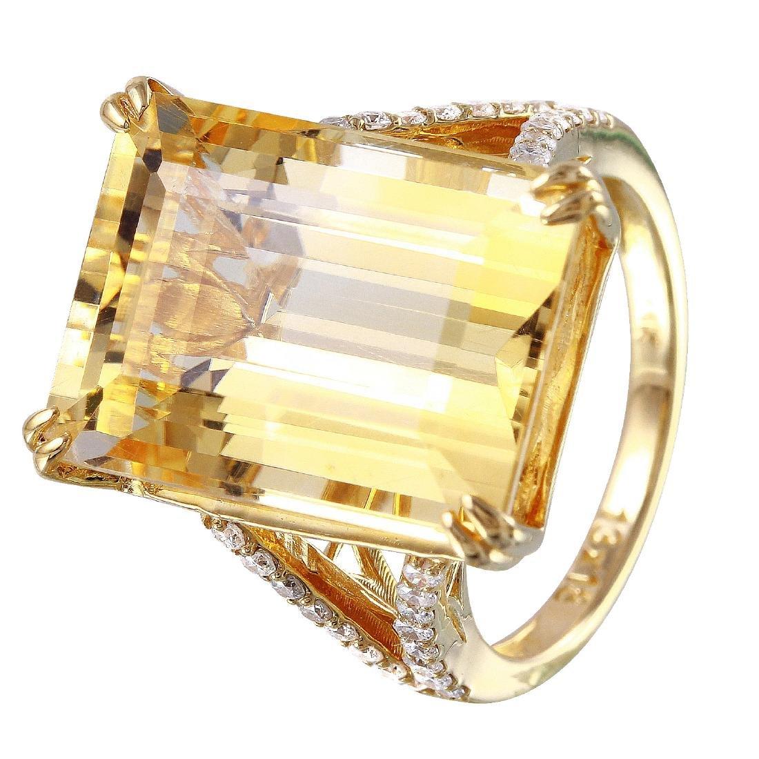 14KT Yellow Gold Citrine & Diamond Ring