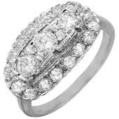10KT White Gold Art Deco Diamond Ring