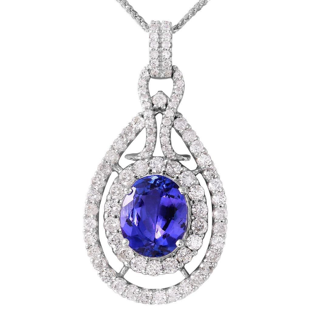 14KT White Gold Tanzanite & Diamond Necklace