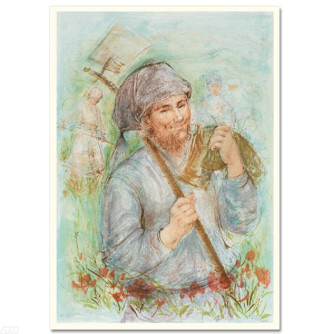 """""""Man with Hoe"""" LIMITED EDITION Lithograph by Edna Hibel"""