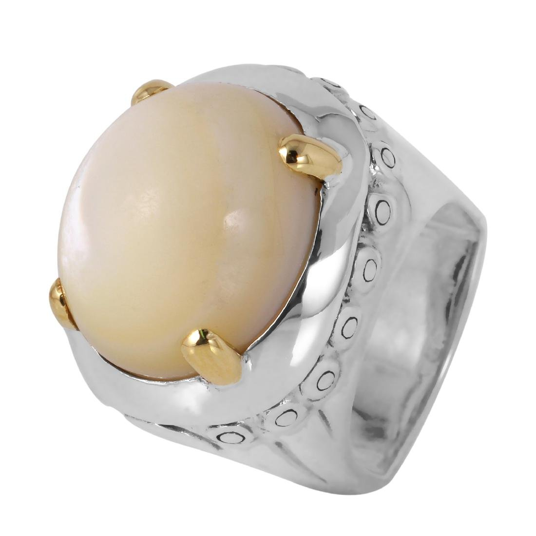 John Hardy Silver 18KT Gold Moonstone Ring