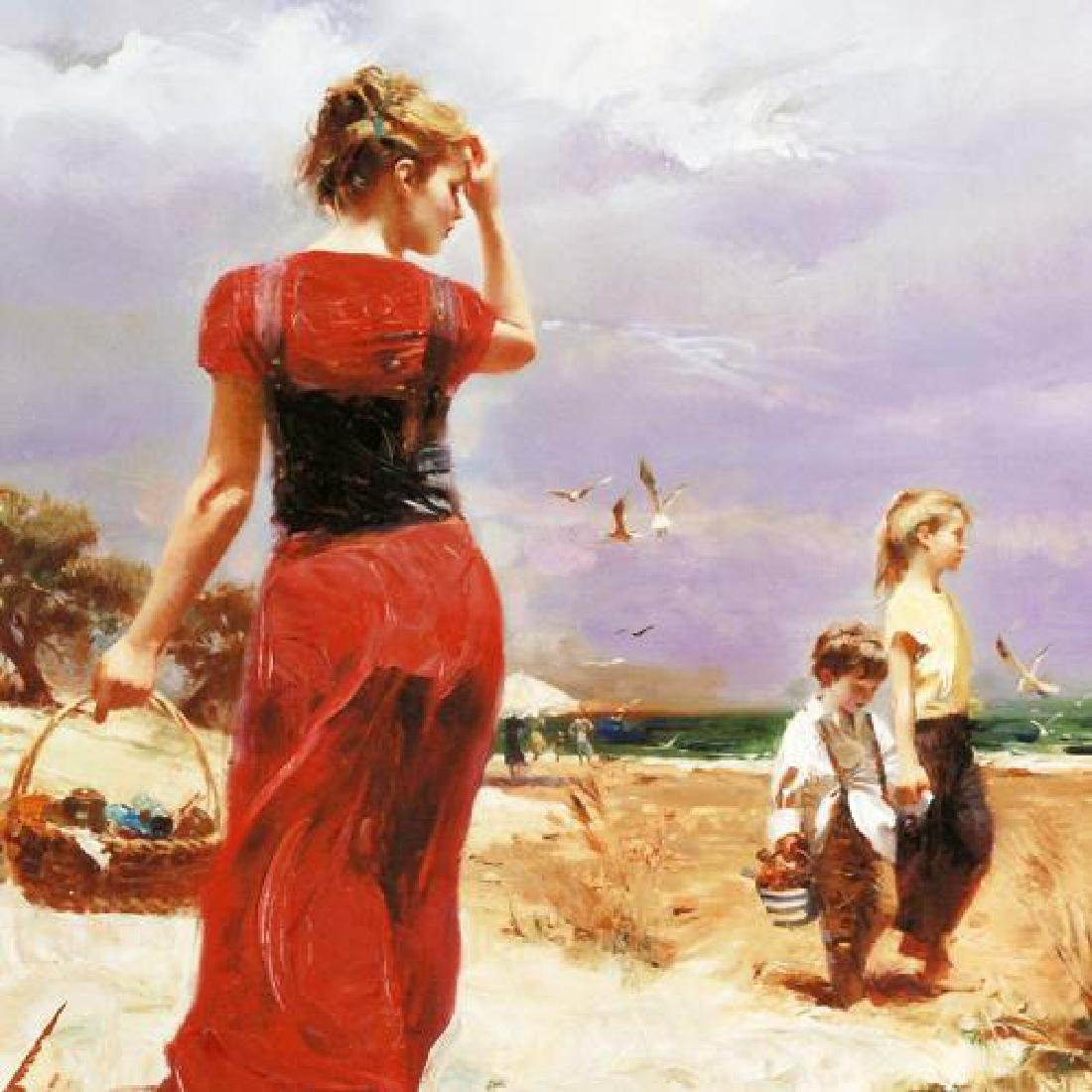 """Seaside Gathering"" LIMITED EDITION Artist-Embellished - 4"