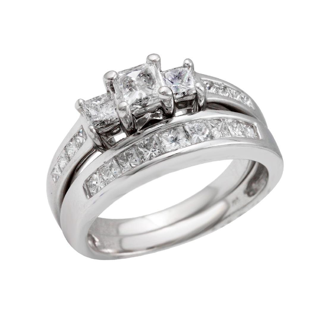 14KT White Gold 1.55ctw Diamond Engagement Ring and