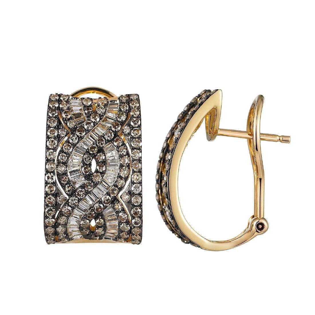 14KT Yellow Gold Diamond Earrings - 2