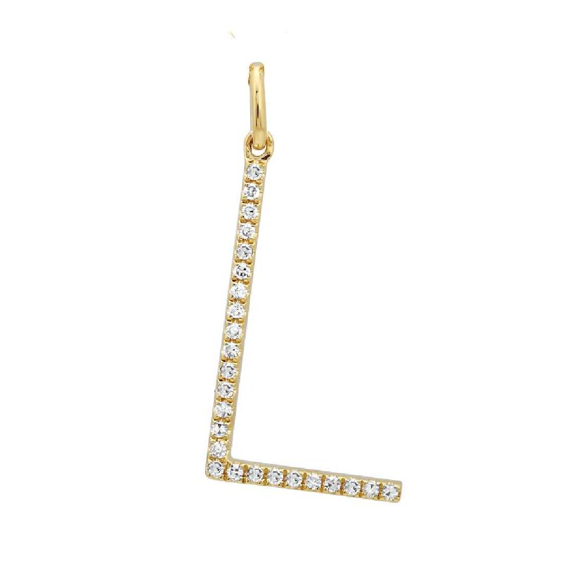 "14KT Yellow Gold Diamond Pendant With Chain ""L"" Letter"