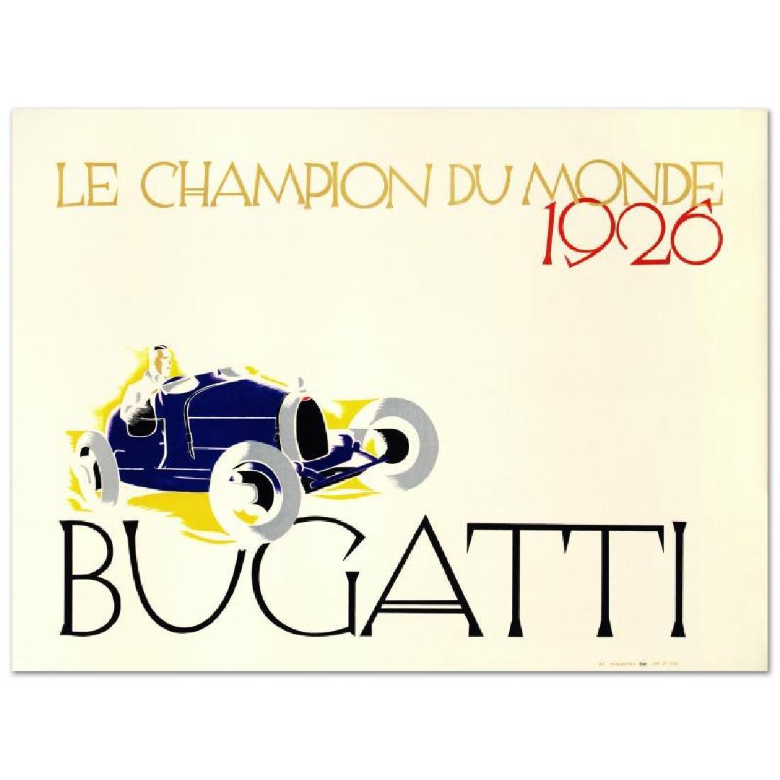 """""""Bugatti: Le Champion du Monde"""" Hand Pulled Lithograph"""
