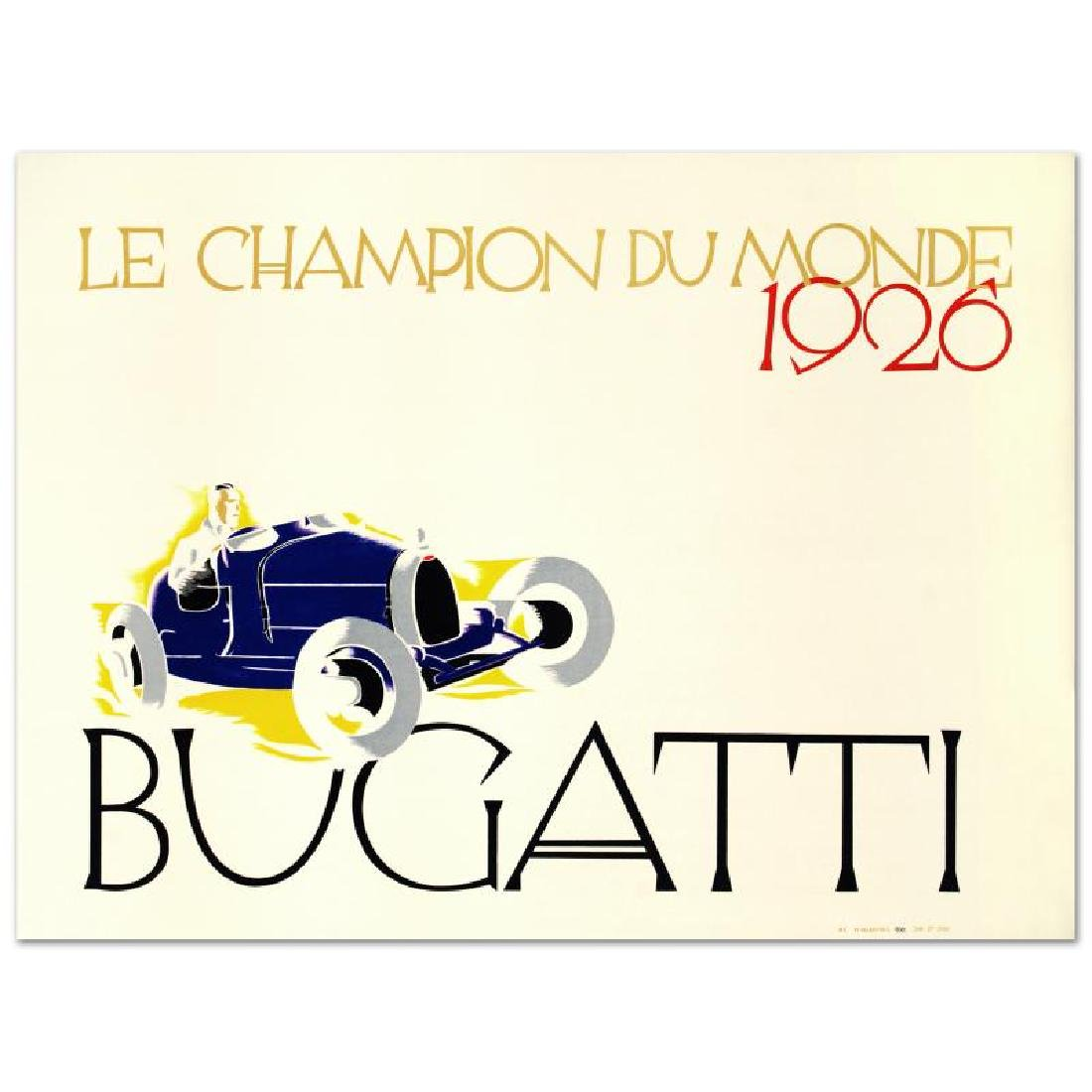 """""""Bugatti: Le Champion du Monde"""" Hand Pulled Lithograph - 3"""