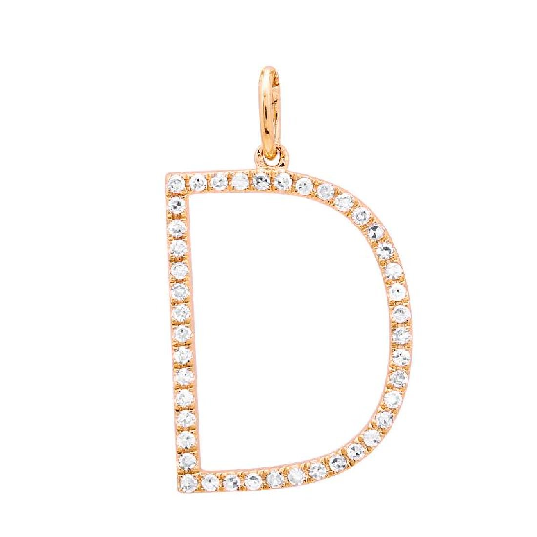 """14KT Rose Gold Diamond Pendant With Chain """"D"""" Letter"""