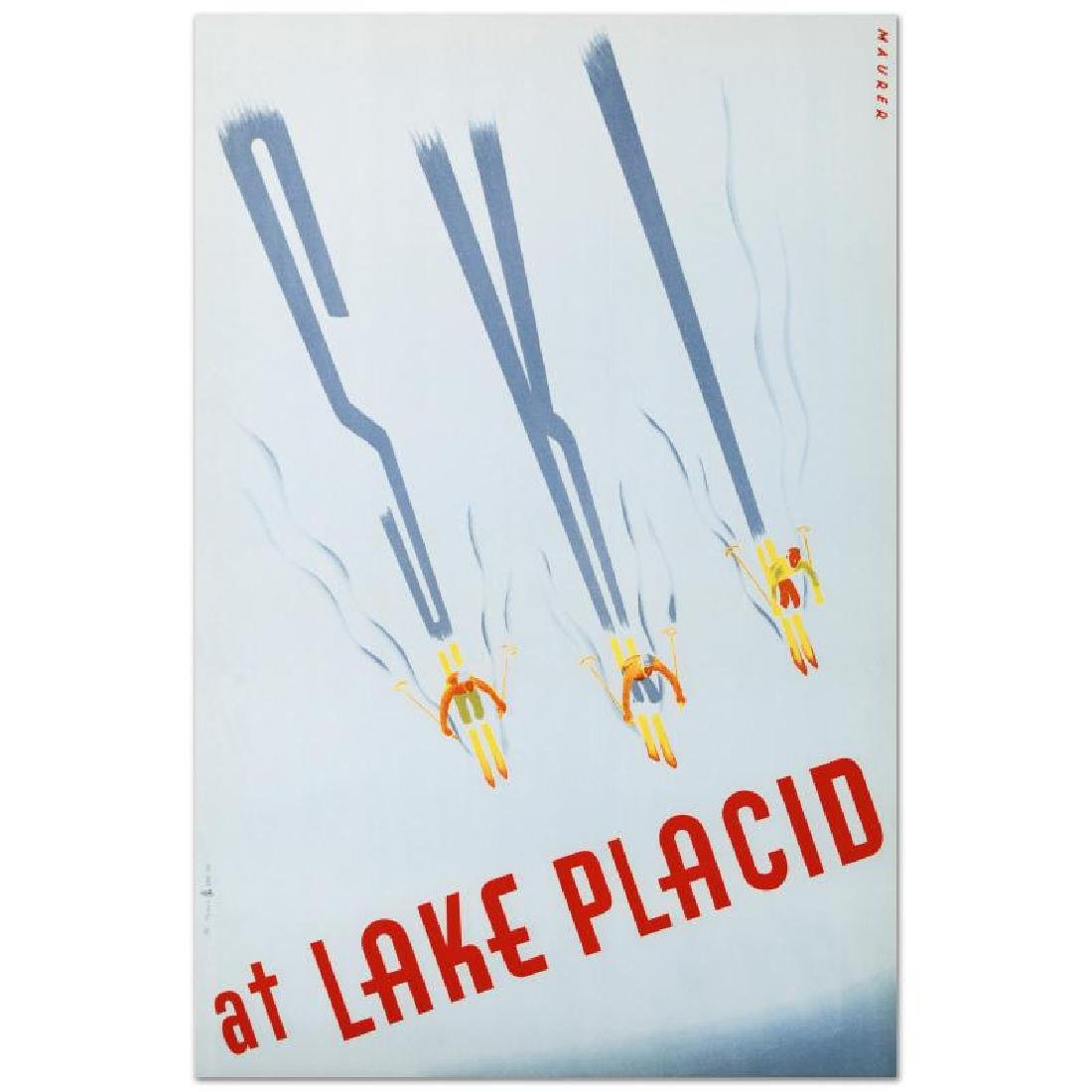 """Ski at Lake Placid"" Hand Pulled Lithograph by the RE"